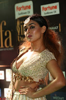 Apoorva Spicy Pics in Cream Deep Neck Choli Ghagra WOW at IIFA Utsavam Awards 2017 66.JPG