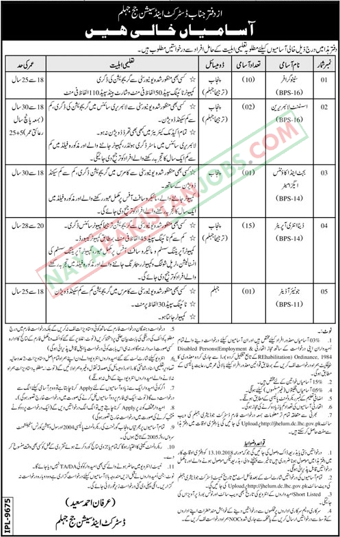 Latest Vacancies Announced in District And Session Judge Jhelum 4 October 2018 - Naya Pakistan