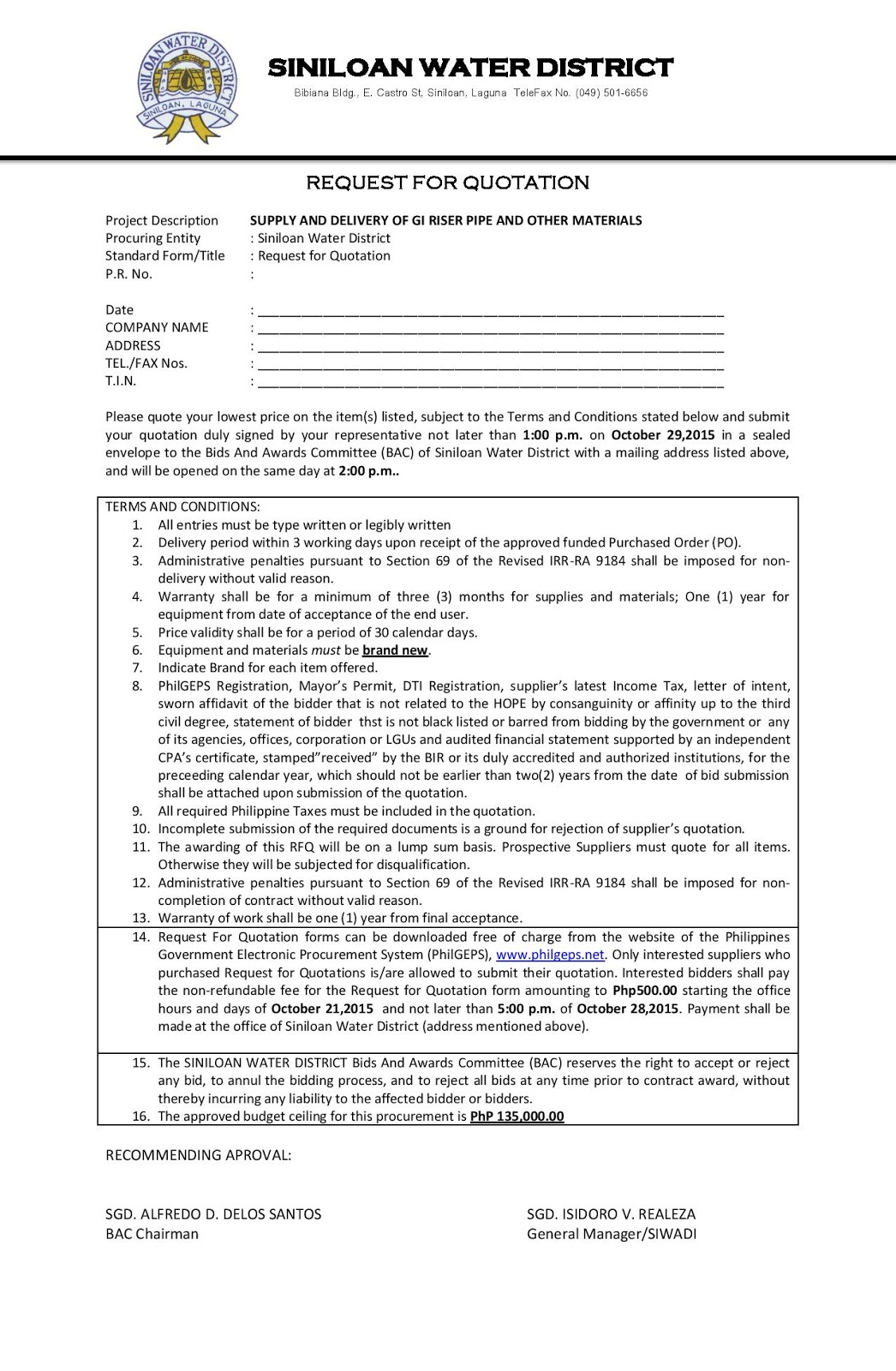 Siniloan Water District: Request for Quotation: SUPPLY AND