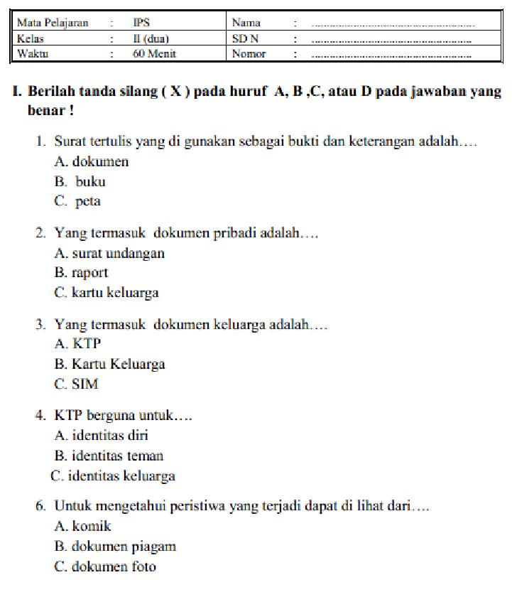 Soal Dan Jawaban Latihan Uas Ips Kelas 2 Sd Mi Semester 1