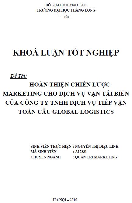 Hoàn thiện chiến lược marketing cho dịch vụ vận tải biển của Công ty TNHH dịch vụ tiếp vận toàn cầu Global Logistics