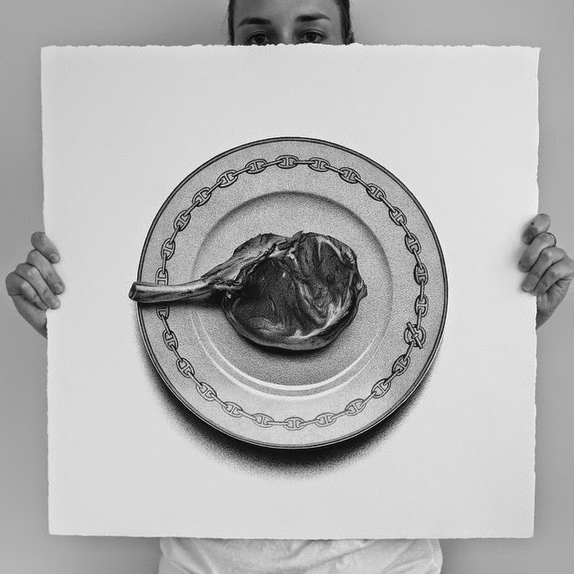 30-Rib Eye-C-J-Hendry-Hyper-Realistic-Drawings-of-Food-www-designstack-co