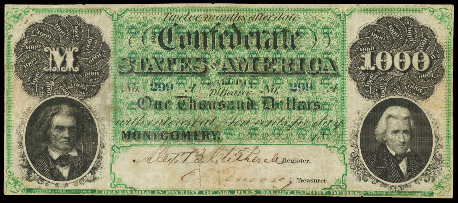 Confederate Currency paper money 1861 1000 Dollars Montgomery Note CSA T-1