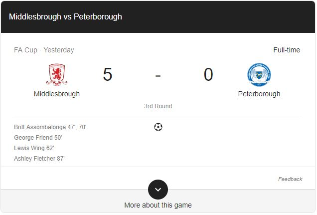 Gol Middlesbrough 5-0 Peterborough United Highlights