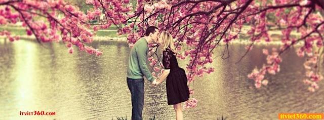 Ảnh bìa lãng mạn cho Facebook - Cover FB romantic timeline, hôn nhau trước hồ đẹp
