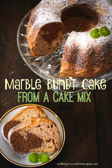 Marble Bundt Cake Recipe from a Cake Mix - Walking on Sunshine Recipes.  An easy and delicious recipe that comes out perfect every time!