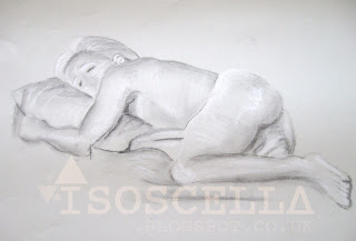 Nude women life drawing charcoal chalk