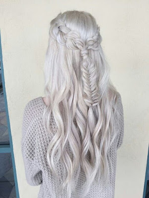 fancy silver braided hairstyle
