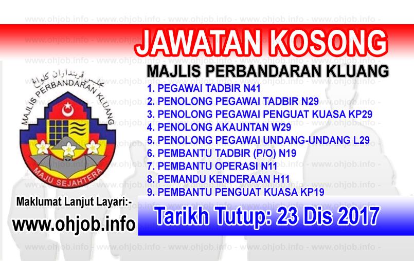 Jawatan Kerja Kosong Majlis Perbandaran Kluang logo www.ohjob.info disember 2017