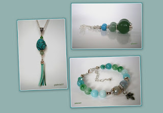 zestaw biżuterii, turkmenit, agat, jadeit, zielony, miętowy, niebieski