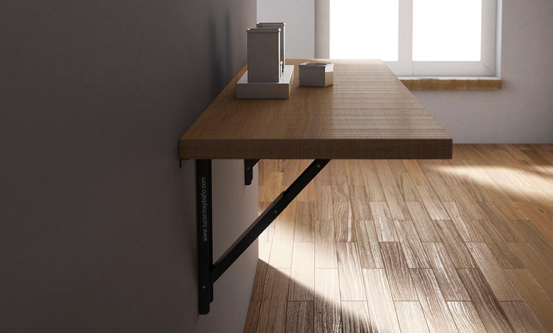 5 mesas para cocinas estrechas o peque as reformas guaita for Mesa abatible cocina