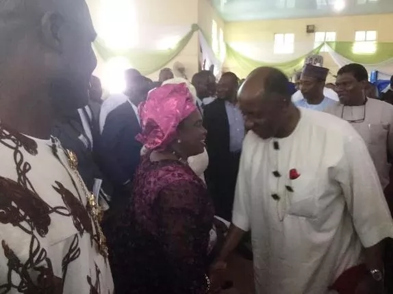 Amaechi and Patience Jonathan spotted together at Ojo Madueke's burial