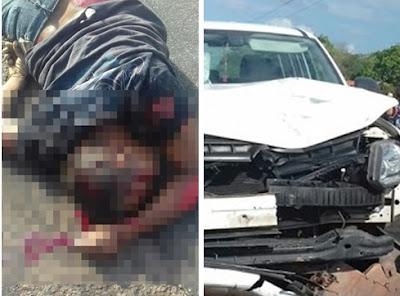 Colisão frontal entre camionete e moto faz vítima fatal na MA-034 em Brejo