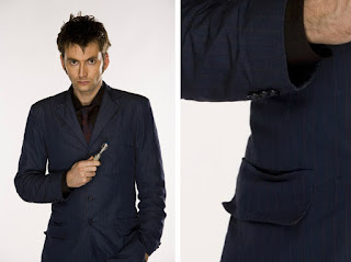 "10th Doctor blue suit ""faux-flap"" pockets"