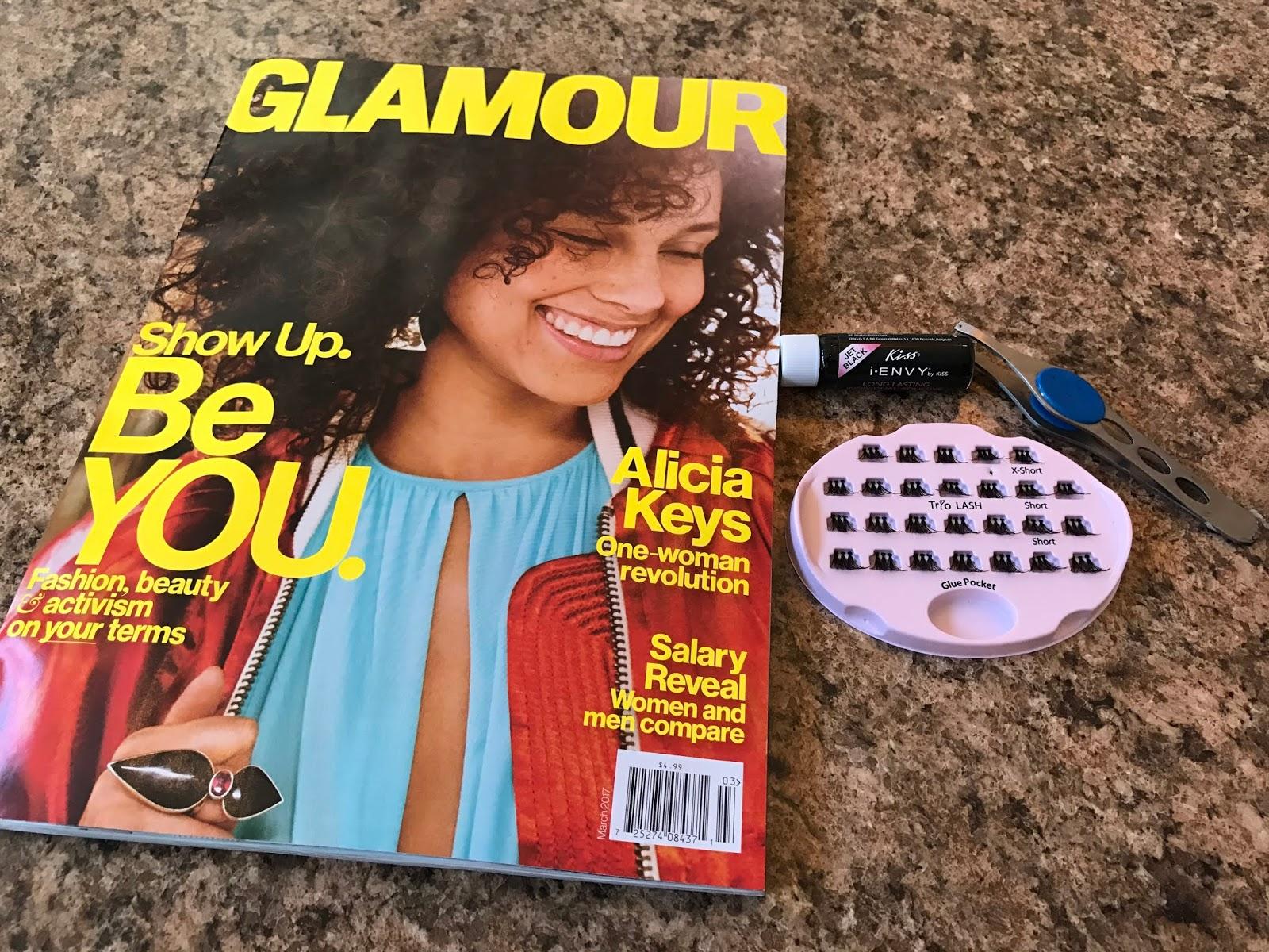 Image: Items used to apply eyelashes, tweezers, glue, lash box, Magazine for decoration