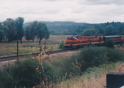 "Willamette & Pacific GP39-2 #2317 ""Tigard"" on the Astoria Line in Oregon, on August 23, 1998"