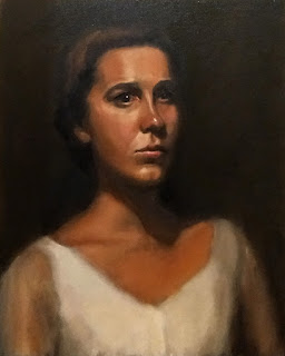 Oil painting of a young woman with dark hair in a white dress.