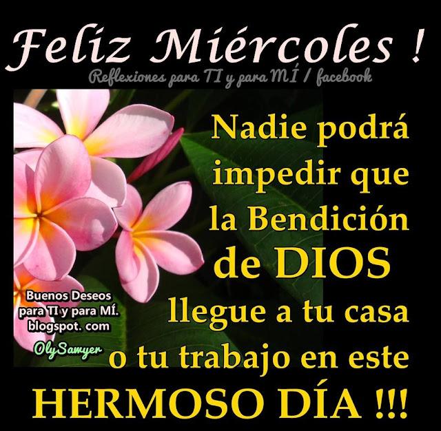 FELIZ MIÉRCOLES  Nadie podrá impedir  que la Bendición de Dios  llegue a tu casa o tu trabajo en este HERMOSO DÍA!!!