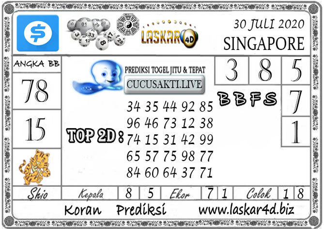 Prediksi Togel SINGAPORE LASKAR4D 30 JULI 2020