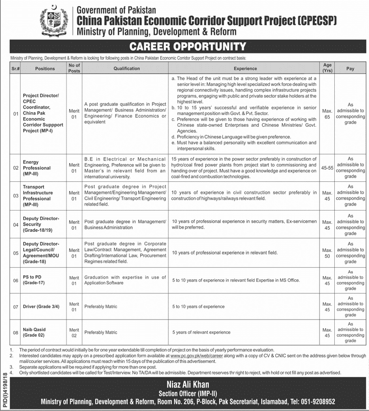 CPEC Jobs 2019 Apply Online Age 18 to 45