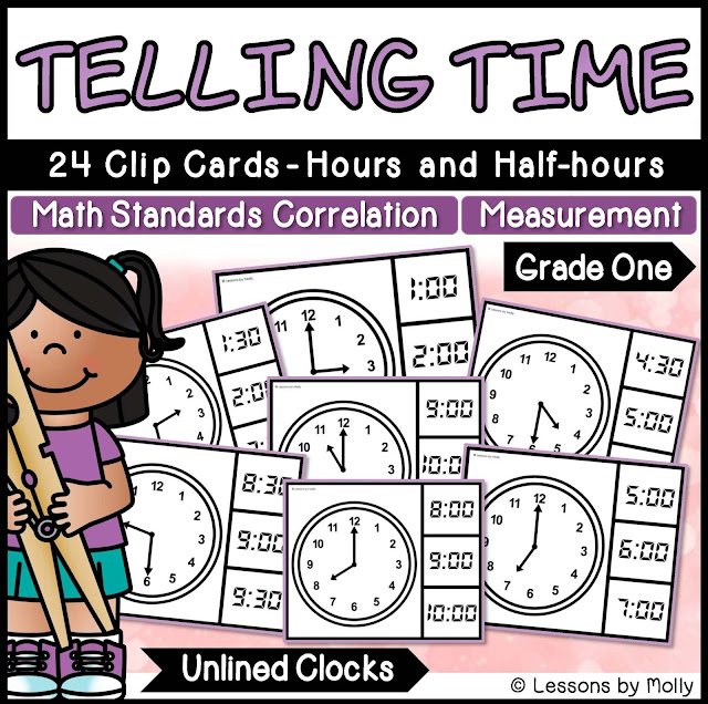 https://www.teacherspayteachers.com/Product/Telling-Time-to-the-Hours-and-Half-hours-with-Analog-Clocks-Unlined-2938071