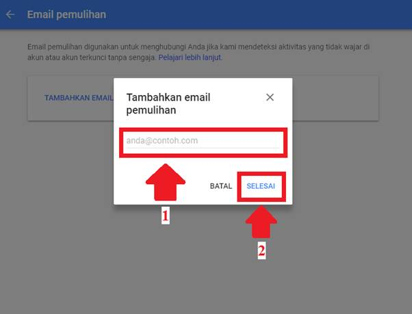 Gambar untuk Cara Menambahkan Email Pemulihan pada Akun Google / Gmail