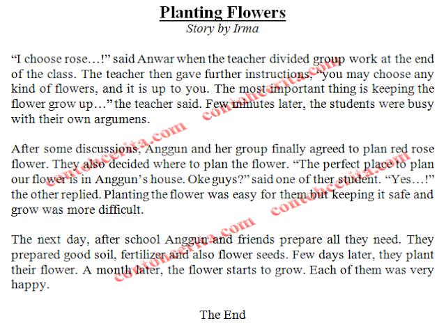 Contoh Cerita Inggris 3 Paragraf