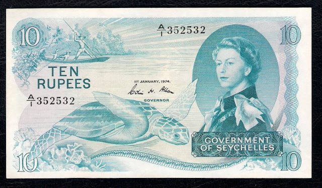 Seychelles currency banknotes 10 Rupees note Queen Elizabeth