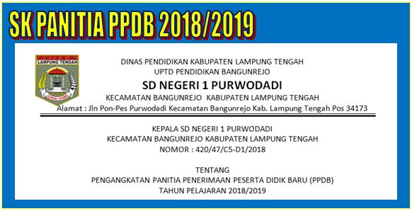 SK Panitia PPDB Baru Tahun Pelajaran 2018/2019