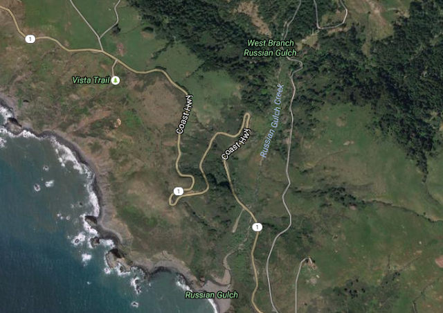 Satellite view of Jenner Grade, CA Highway 1
