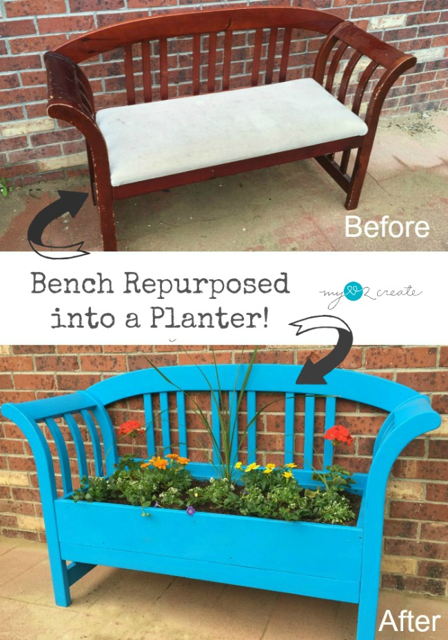 turn a bench in to a flower garden planter