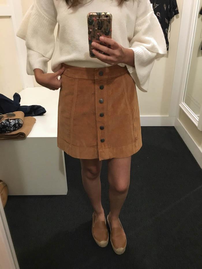 cute tan button skirt