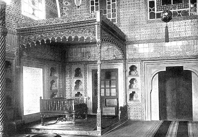 a photograph of a Royal Turkish bed, 1800s?