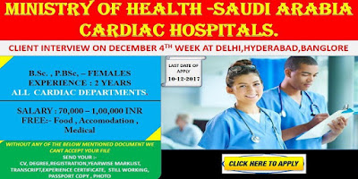 URGENT REQUIREMENT FOR NURSES MINISTRY OF HEALTH SAUDI ARABIA CARDIAC HOSPITALS