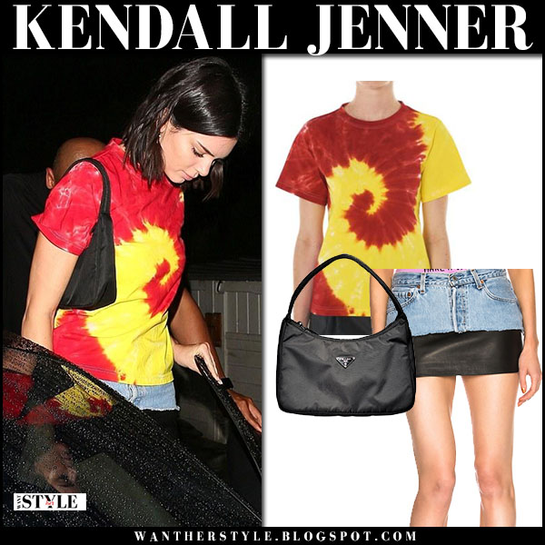 Kendall Jenner in red and yellow tie-dye t-shirt kwaidan editions model fashion march 14
