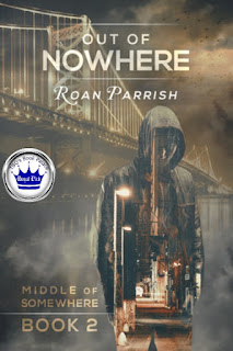 romance novel cover, mm romance, out of nowhere by roan parrish