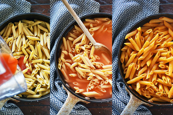 Step by step photos showing how to make buffalo chicken pasta all in one skillet