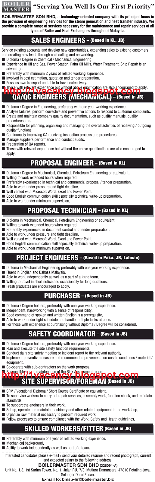 Oil & Gas, Government, and Private Sectors Jobs: Boilermaster Sdn Bhd