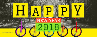 H A P P Y New Year 2018 with yellow colored fonts