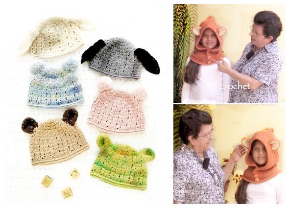 gorros, capuchas, orejas, infantiles, crochet, ganchillo, tricot