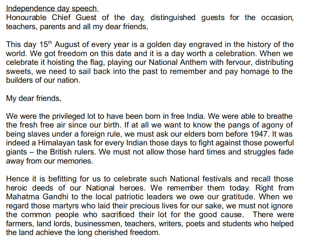 Independence Day Speech For Students, Children In English