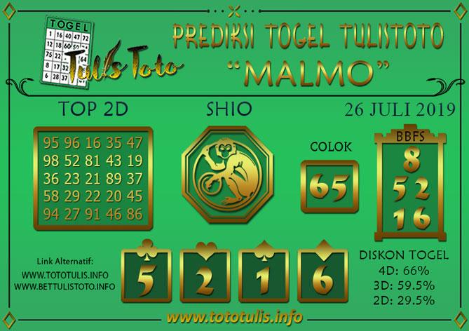 Prediksi Togel MALMO TULISTOTO 26 JULI 2019