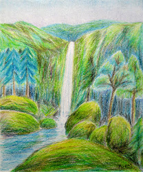 pencil colored drawings landscapes easy waterfall imaginary landscape river