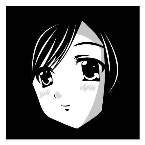 Avatar del rostro en blanco y negro de una encantadora chica anime