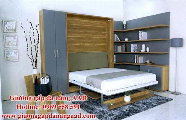 Giường gấp dọc đa năng cao cấp GAAD1 khi mở ra