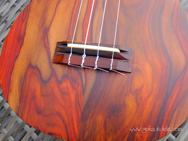 Cocobolo tenor ukulele bridge