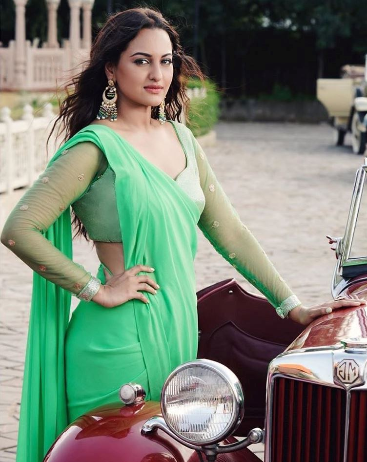 Sonakshi Sinha in Green Sari
