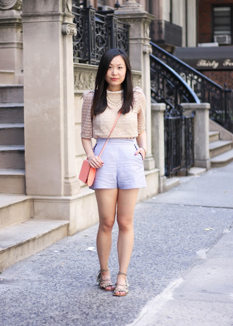 High-Waist Summer Shorts and Lace Top