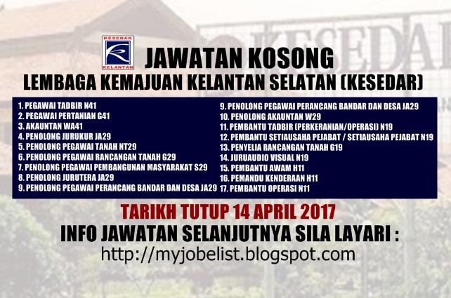 Jawatan Kosong Lembaga Kemajuan Kelantan Selatan (KESEDAR) April 2017