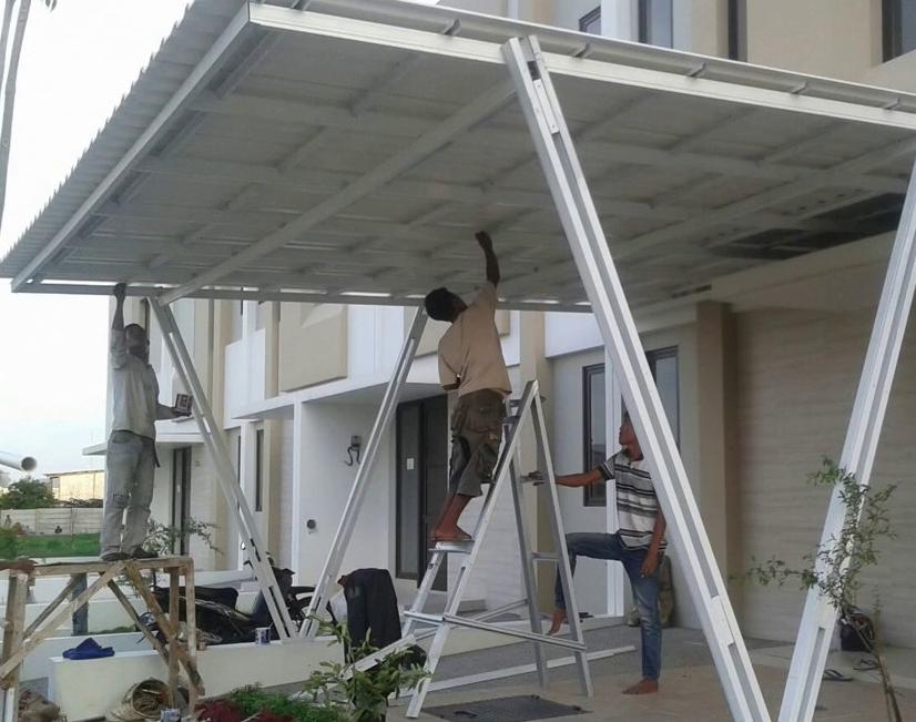 Kanopi Baja Ringan Model Segitiga 120 Contoh Desain Garasi Kekinian Rumah
